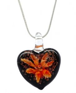 Distinctive Decorative Red Flower Venetian Murano  Glass Love Heart Shaped Pendant / Necklace (1)